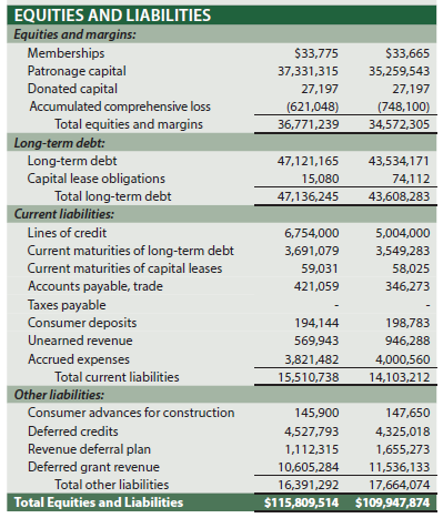 Equities and liabilities