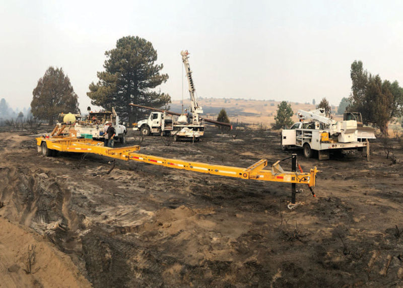 The PSREC North End Line Crew prepares to make repairs in the aftermath of the Sheep Fire