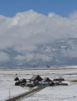 Winter landscape with small houses