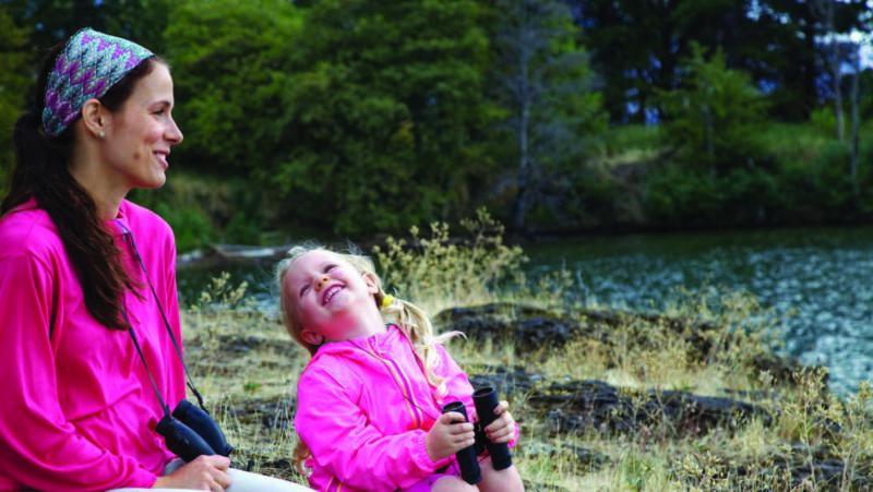 Woman and girl at a lake