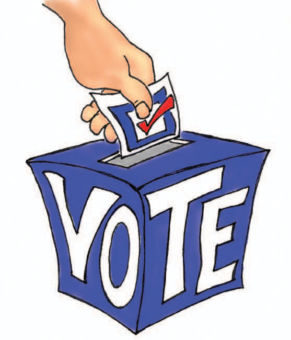hand putting ballot into voting box illustration