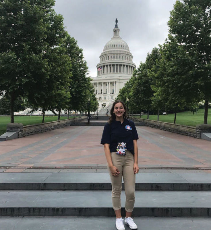 The 2019 Washington Youth Tour Winner, CoraGrace Hardee, in front of the U.S. Capitol.