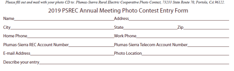2019 PSREC Annual Meeting Photo Contest Entry Form