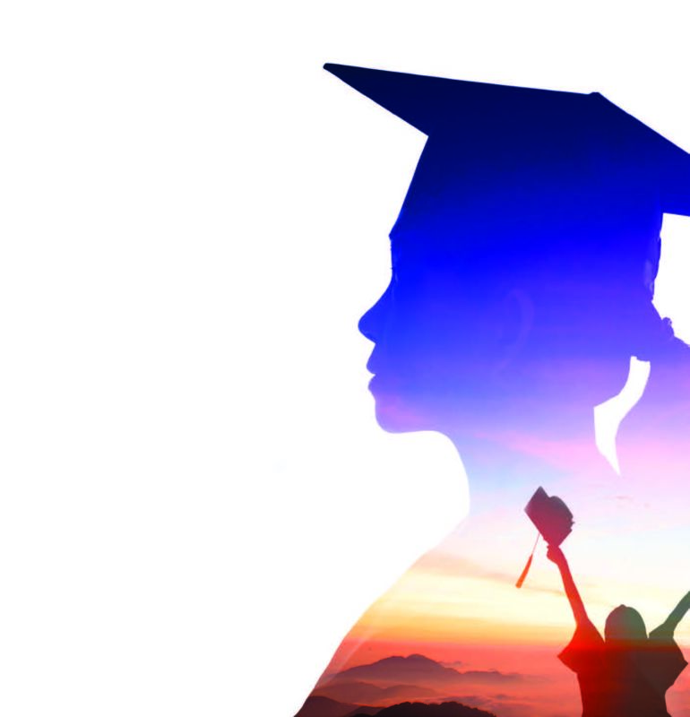 students holding graduation cap in air in an image of outline of graduation student