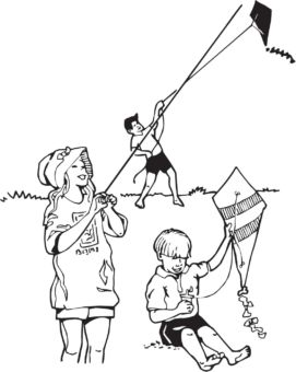 Illustration of three children playing with kites