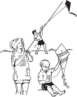 Illustration of three children playing with kites