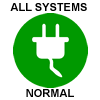 A white electrical plug in profile against a solid green circle. Text outside the circle: All Systems Normal