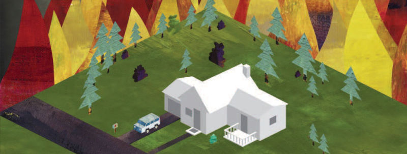 Illustration of a house with trees nearby, surrounded by a fire